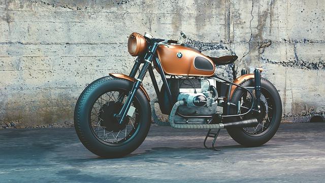 měděná motorka BMW